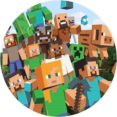"Minecraft 8"" Round Edible Cake Topper"
