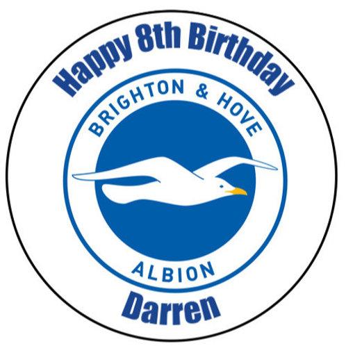 "Brighton & Hove Albion FC Personalised 8"" Round Edible Cake Topper"