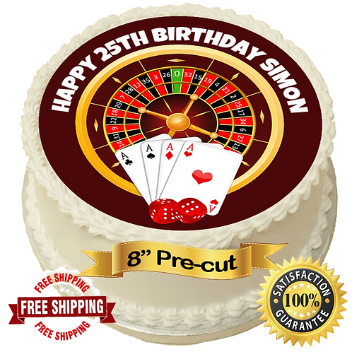 """Casino Theme Personalised 8"""" Round Edible Cake Topper"""