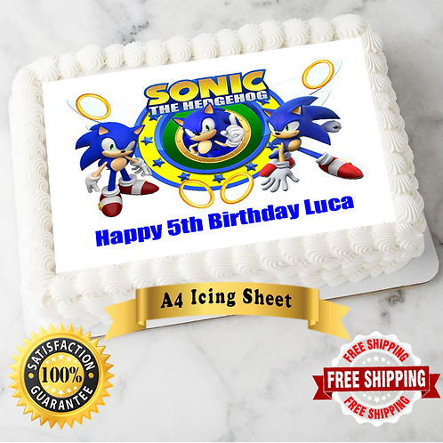 Sonic The Hedgehog Personalised Edible A4 Sized Cake Topper