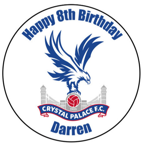 """Crystal Palace FC Personalised 8"""" Round Edible Cake Topper"""