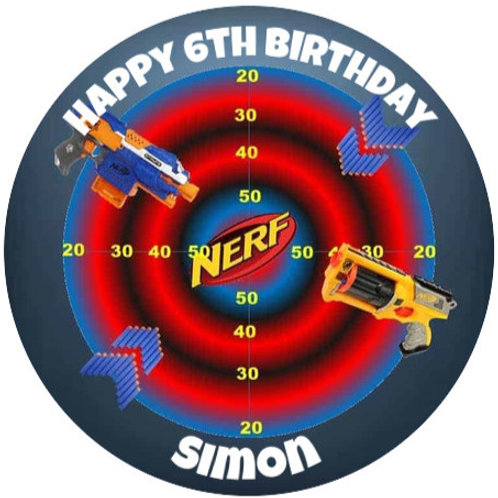 """Nerf Personalised 8"""" Round Edible Cake Topper"""