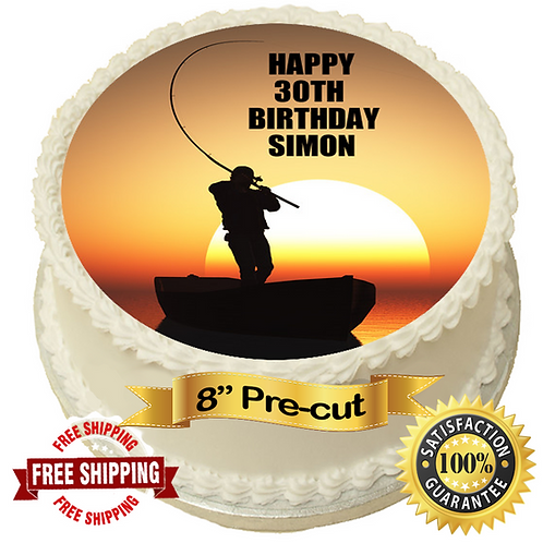 "Fisherman In The Sunset Personalised 8"" Round Edible Cake Topper"