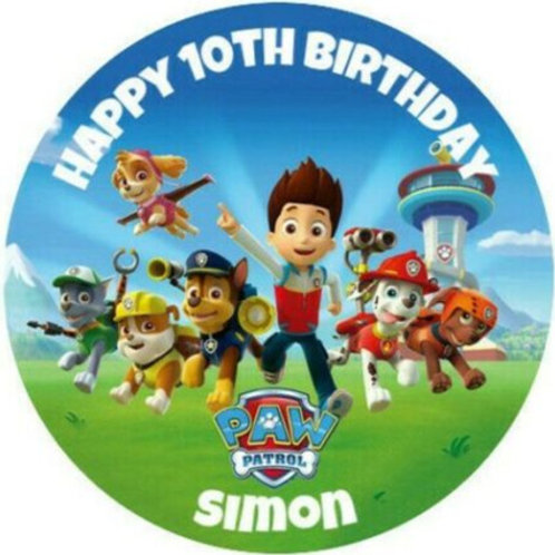 "Paw Patrol Personalised 8"" Round Edible Cake Topper #1"