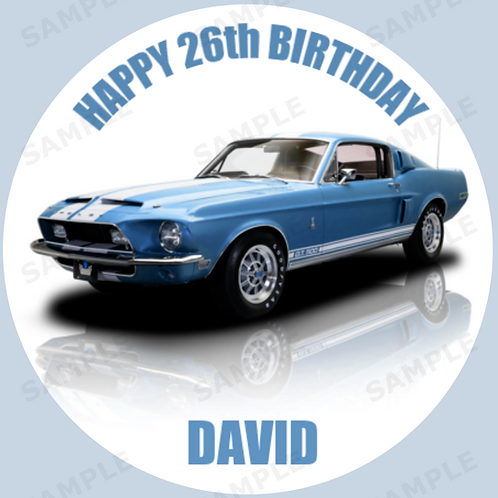 """Ford 1968 Mustang GT500 Personalised 8"""" Round Edible Cake Topper"""