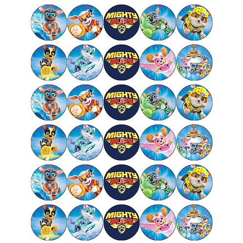 30 x Paw Patrol Mighty Pups Edible Wafer Cupcake Toppers