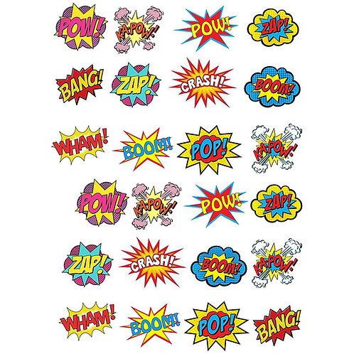 24 x Superhero Pow Zap Bang Edible Wafer Cupcake Toppers