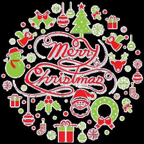 "Christmas 8"" Round Edible Cake Topper #2"