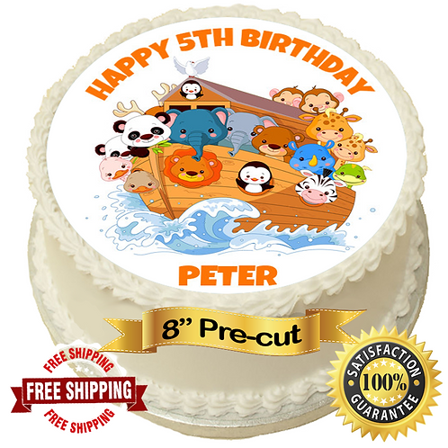"""Noahs Ark Personalised 8"""" Round Edible Cake Topper"""