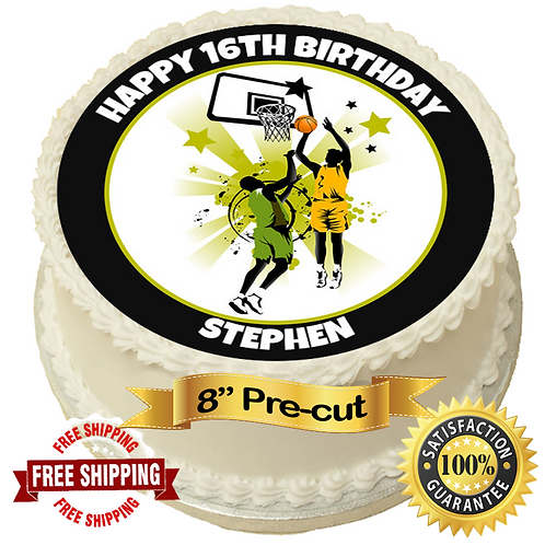 """Basketball Theme Personalised 8"""" Round Edible Cake Topper"""