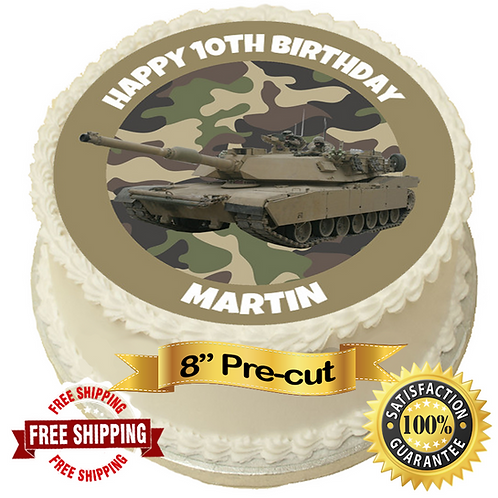 """Tank Personalised 8"""" Round Edible Cake Topper"""