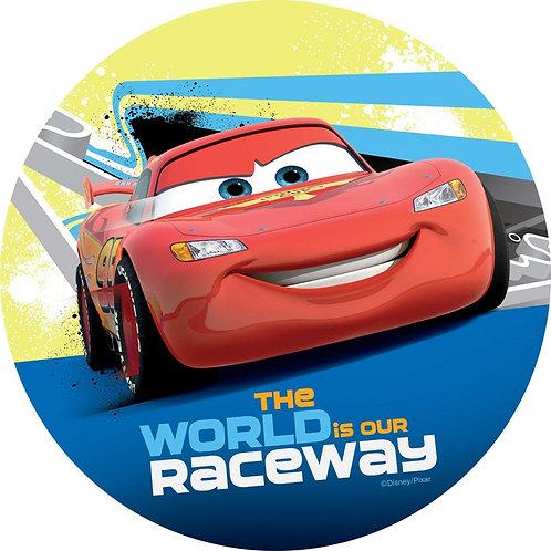 "Cars Lightning McQueen 8"" Round Edible Cake Topper #1"
