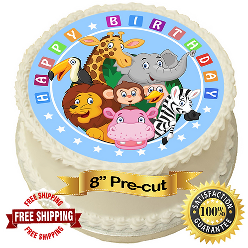 "Jungle Pals Happy Birthday 8"" Round Edible Cake Topper"