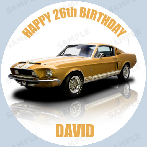 """Ford 1968 Mustang GT500 Personalised 8"""" Round Edible Cake Topper #2"""