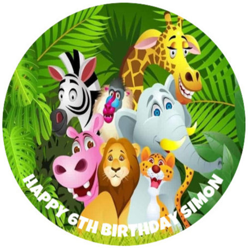 """Jungle Animals Personalised 8"""" Round Edible Cake Topper"""