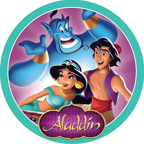 """Aladdin 8"""" Round Edible Cake Topper"""