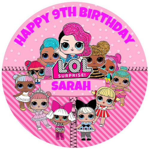 """LOL Dolls Personalised 8"""" Round Edible Cake Topper"""