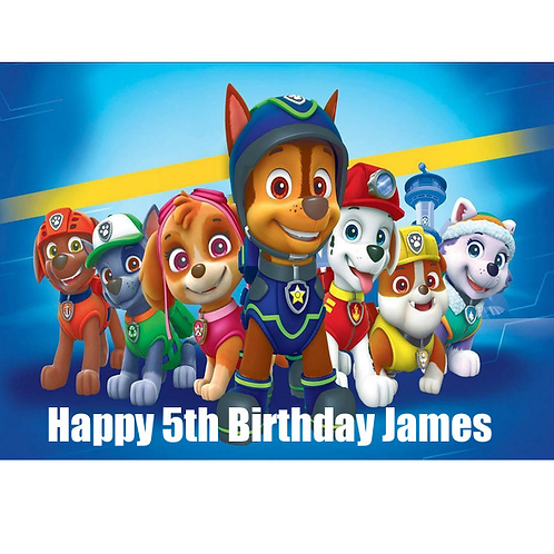 Paw Patrol Personalised Edible A4 Sized Cake Topper