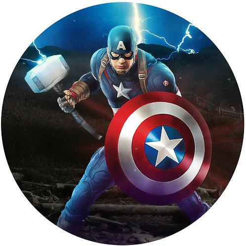 "Captain America 8"" Round Edible Cake Topper #1"