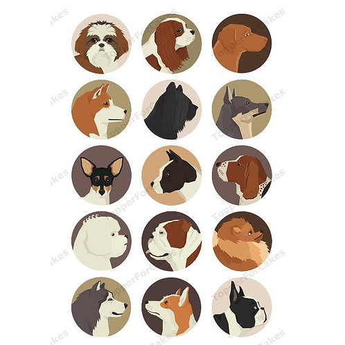 15 x Dog Breeds Edible Wafer Cupcake Toppers Version 2