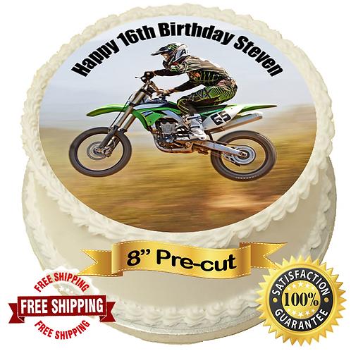 "Moto X Motorbike Personalised 8"" Round Edible Cake Topper #2"