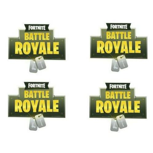 4 x Fortnite Battle Royale Logo Edible Cake Toppers