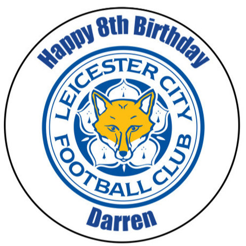 """Leicester City FC Personalised 8"""" Round Edible Cake Topper"""