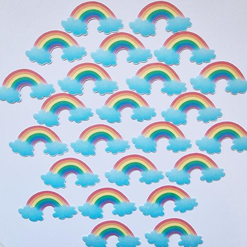 24 x Precut Rainbow Edible Wafer Cupcake Toppers