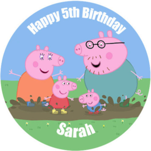 "Peppa Pig Personalised 8"" Round Edible Cake Topper #1"