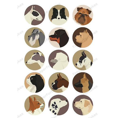 15 x Dog Breeds Edible Cupcake Toppers Version 1
