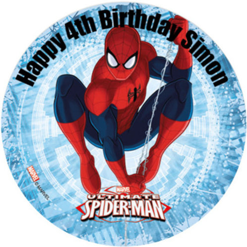 """Spiderman Personalised 8"""" Round Edible Cake Topper #5"""