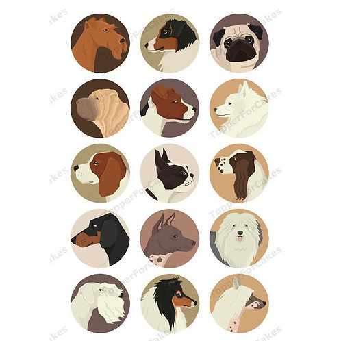 15 x Dog Breeds Edible Wafer Cupcake Toppers Version 3