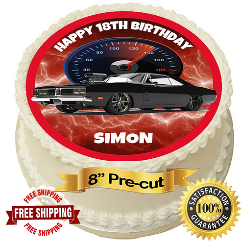 """American Muscle Car Personalised 8"""" Round Edible Cake Topper"""