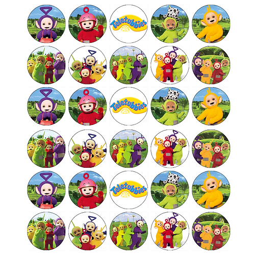 30 x Teletubbies Edible Wafer Cupcake Toppers