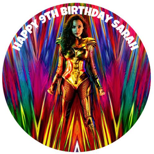 "Wonder Woman Personalised 8"" Round Edible Cake Topper #4"