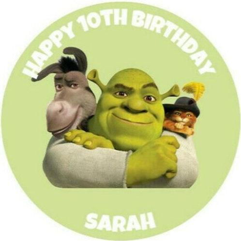 "Shrek Personalised 8"" Round Edible Cake Topper"