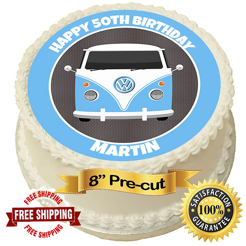 """Blue Campervan Personalised 8"""" Round Edible Cake Topper"""