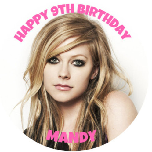 "Avril Lavigne Personalised 8"" Round Edible Cake Topper"