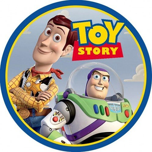 "Toy Story Buzz & Woody 8"" Round Edible Cake Topper"