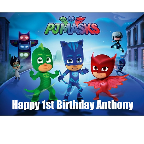 PJ Masks Personalised Edible A4 Sized Cake Topper