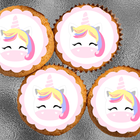 12 x Unicorn Head Precut Edible Wafer Cupcake Toppers
