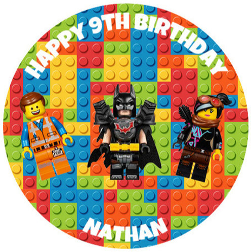 "Lego Movie Personalised 8"" Round Edible Cake Topper #3"