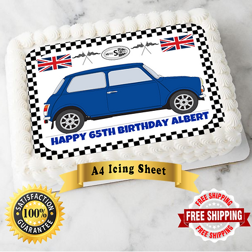Blue Mini Car Personalised Edible A4 Sized Cake Topper