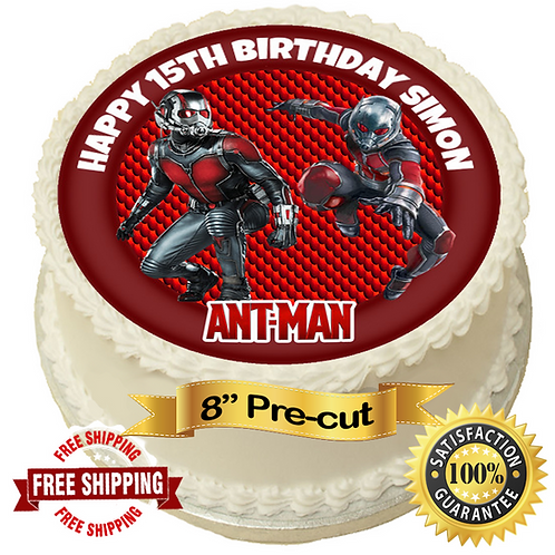 """Ant Man Theme Personalised 8"""" Round Edible Cake Topper"""