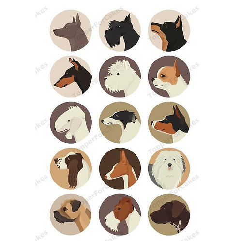 15 x Dog Breeds Edible Wafer Cupcake Toppers Version 4