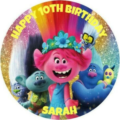 "Troll World Tour Personalised 8"" Round Edible Cake Topper #1"