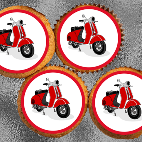 12 x Red Vespa Bike Precut Edible Wafer Cupcake Toppers