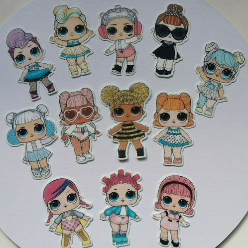 12 x LOL Dolls Precut Edible Wafer Cupcake Toppers