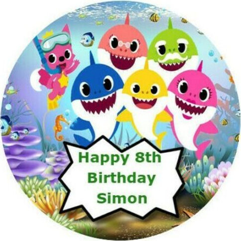 """Baby Shark Personalised 8"""" Round Edible Cake Topper #2"""
