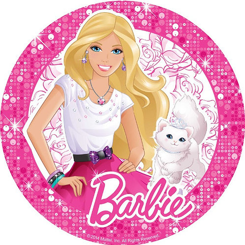 "Barbie 8"" Round Edible Cake Topper"